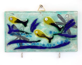 Wall Hook Organizer Key Holder, Decorative Tile, Blue, Green and yellow fish Fused Glass Art.