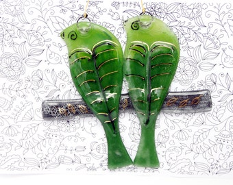 Fused glass green love bird  Suncatcher Ornaments and Decorations hanging wall art.
