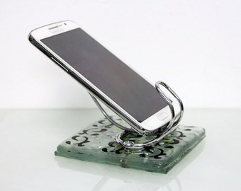 Phone Stand, iphone stand, iphone dock, glass Android stand,Fused Glass Cell Phone Holder.