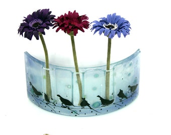 Fused glass  Curved vase Divided to three vases decoration -  Beautiful handmade birds vase  in Calm  blue