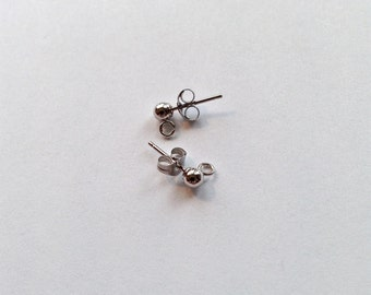 14k White Gold 3mm Ball Posts with Open Ring and Backs