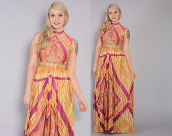 Vintage 60s JUMPSUIT / 1970s Ethnic Print Silky Wide Leg Palazzo Jumper S