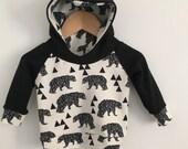Toddler Hoodie // Baby Hoodie //  Geo Bears // Monochrome Hoodie // Bears // Milk // Hipster Hoodie // Sweater