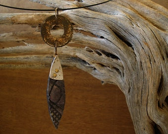 Black Paper Pendant with Silver and Rust Patina Accents