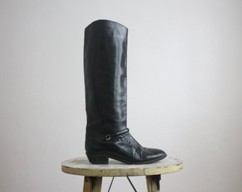 italian black leather riding boots size 6