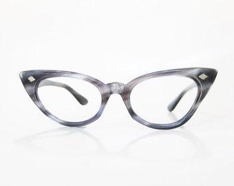 ON SALE Vintage Blue Cat Eye Eyeglasses 1950s Womens Cateye Eyeglass Frames Dusty Cornflower Metallic Pearl 50s Fifties Mad Men Classic Ladi