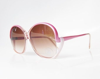 ON SALE 1970s Pink Sunglasses Pearl Vintage Retro Pearlescent Pastel Rose Blush 70s Sunnies Womens Ladies Authentic Deadstock Shine Metallic