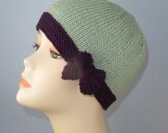 HALF PRICE SALE Instant Digital Pdf Download - Tie Up Bow Beanie Circular Knitting pattern