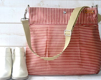Waxed canvas bag Diaper bag, Messenger bag Striped bag Pink Stockholm  geometric nautical stripes, Gift for mom