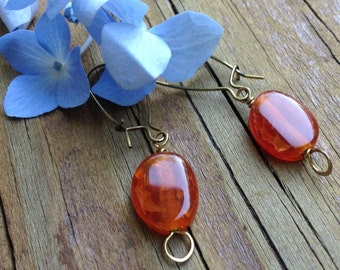 Earrings Red Crackle Agate And Brass Earth Earrings