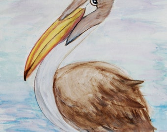 Brown pelican coastal bird canvas wall art from my painting.