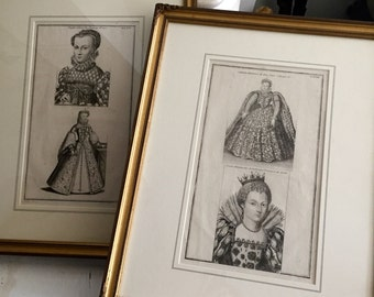 Antique French Queen prints, 2 Framed Print, Antique. French.