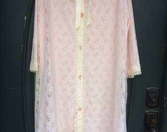 Vintage Pink and Lace Long Bed Jacket, Robe
