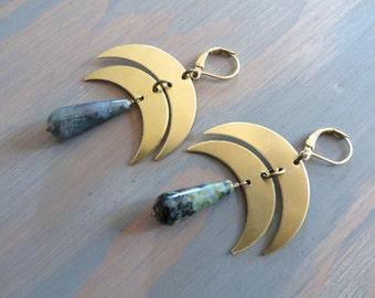 Crescent Moon Earrings Moss Agate Green Turquoise Stone Drop Double Moon Chandelier Boho Bohemian Ear Jewelry