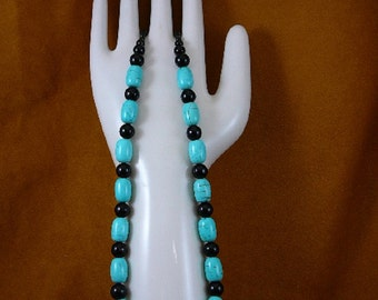 16 inch long 16x11 mm Chinese turquoise and black Onyx gemstone Beads bead beaded Necklace jewelry V326-90
