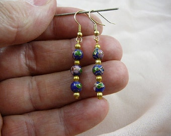 Blue with pink flower 6 mm round Cloisonne three bead gold dangle earring pair EE-600-42