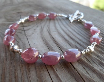 High Quality Genuine Pink Sapphire Birthstone Gemstone Sterling Silver and Fine Silver Bracelet