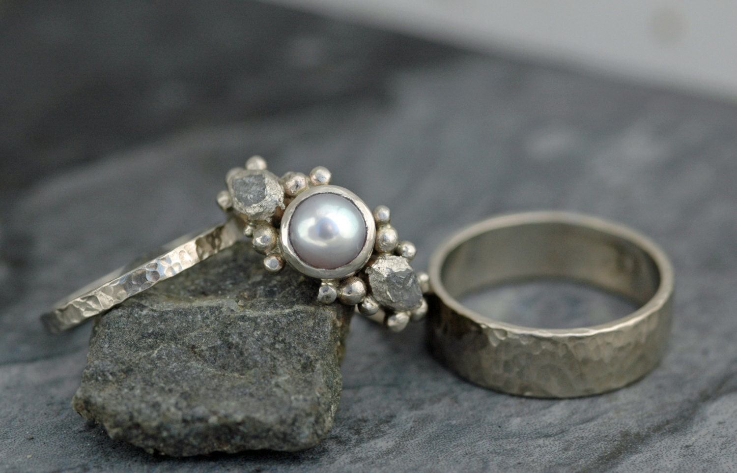 3 ring set 14k white gold engagement ring with rough diamonds and pearl and two wedding bands custom made rough uncut stone bridal set - Pearl Wedding Ring Sets