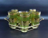 Vintage Cocktail Set in Green and Gold. Ice Bucket and 5 Hi-ball Glasses with Storage Rack. Circa 1960's - 1970's.