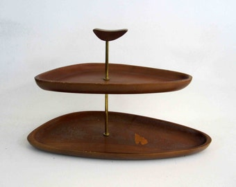 Vintage Two Tier Candy or Serving Dish in Walnut. Circa 1960's.