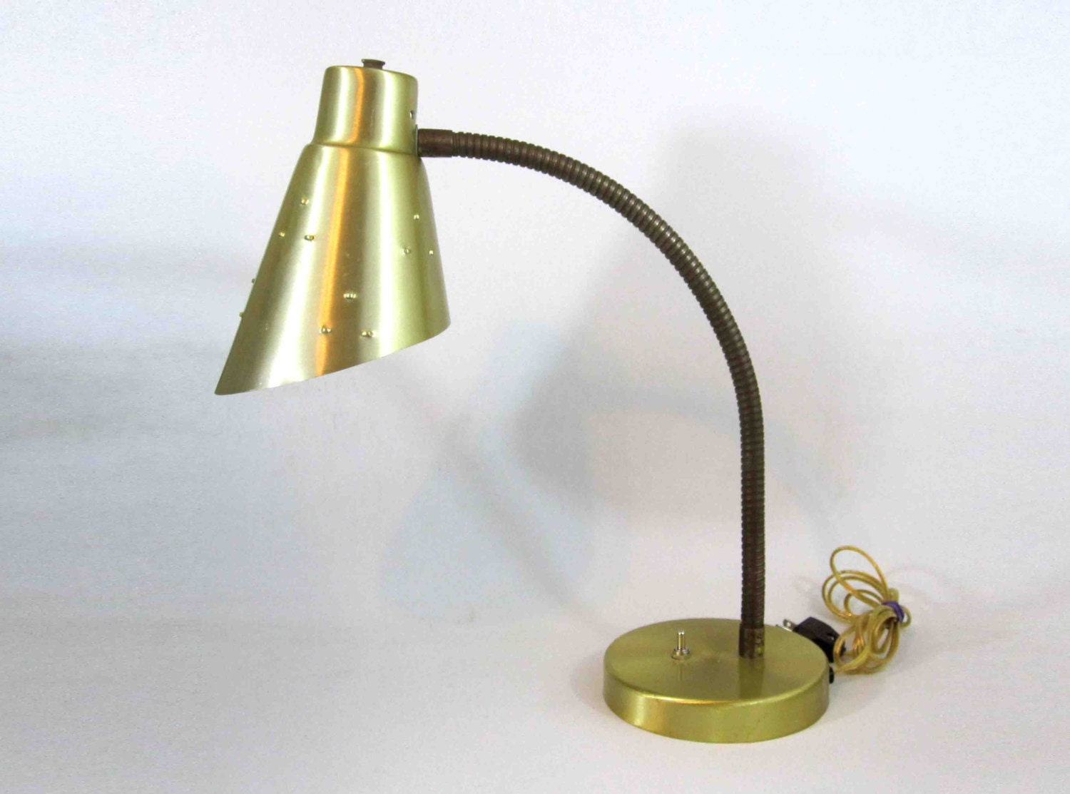 vintage mid century cone shade gooseneck lamp with brass by midmod. Black Bedroom Furniture Sets. Home Design Ideas
