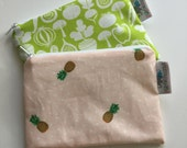 Reusable Machine Washable Zippered BPA-Free Snack-Loc Large Sandwich Small Snack Bag - Pink Fruit Pineapple Edgy Veggie Vegetables