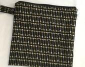 Large Heat Sealed Wet Swim Cloth Diaper Reusable Plastic Bag with SNAP handle - Arrows Black White Gold
