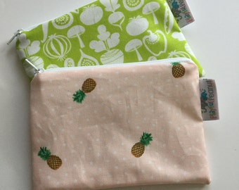 Reusable Snack Bag, Reusable Zipper Bag, Reusable Sandwich Bag, Zipper Pouch, Reusable, Pineapple Snack Bag, Lunch Bag, Reusable Bag, Veggie