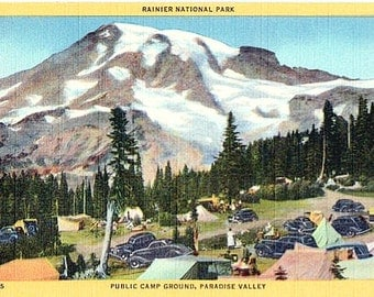 Vintage Washington State Postcard - Camping in Paradise Valley, Mount Rainier National Park (Unused)