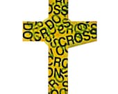 Cross the Line, Do Not Cross Tape, Cross, Cross Art, Decorative Cross, Hostess Gift, Wall Cross, Christian Art, Christian