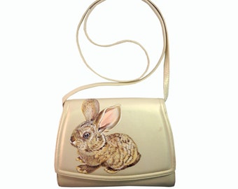 Sale Vegan Baby Flemish Rabbit purse - handpainted, small, gold, vintage handbag - one of a kind