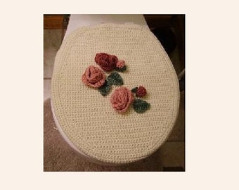 Toilet Seat Cover, Bath Crochet Pattern, Antique Rose Pattern, Commode Seat Pattern, Crochet Toilet Seat, Downloadable
