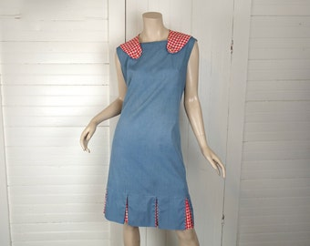 60s Blue Chambray Sailor Dress- Red Gingham- 1960s Shift Dress- Plus Size / Extra Large