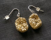 Gold Druzy Earrings, Metallic Titanium Crystal Jewelry, Glitter Earrings, Stone Dangles
