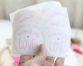 """24- 2"""" Handmade With Love White and Pink Stickers - FREE SHIPPING with other purchase"""