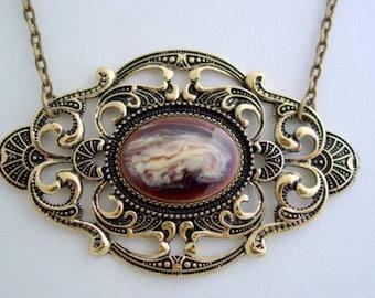Empress Chocolate Latte Split Chain Antique Bronze Necklace Open Filigree Setting