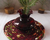 """CUSTOM ORDER for PATI - 8 1/2"""" and 6 1/2"""" Coiled Cotton Mats, Trivets or Hot Pads in Rich, Dark Christmas Colors"""