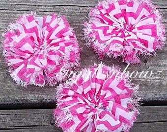 Chiffon Twirl Flowers- Hot Pink Chevron 3 inch - Fabric Flowers, Flowers for Hair, Flowers for Headband, DIY Hairbow Supplies- Ballerina