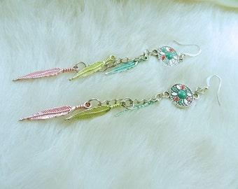 Leaf Dangle Earrings, Nickel Free Earwires, Ethnic, Turquoise, Red, White, Soft Yellow, Metal Leaves, Silver, Flower Coin, Enamel