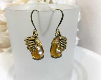 Brass Bee Earrings - Honey Bee Earrings - Amber Glass Earrings - Honey Bee Jewelry - Art Deco Earrings - Victorian Earrings - Bee Lover Gift