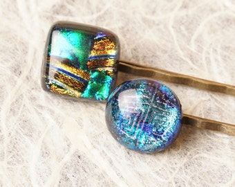 2 Barette Hair Clips Bronze Metal and Dichroic Fused Glass