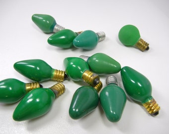 Vintage Christmas Bulbs / holiday light replacement / glass / green teal / craft / bowl filler / mid-century / Christmas bulbs / CIJEtsy
