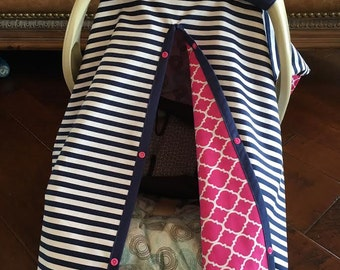 Baby Car Seat Cover - New Navy 1/2 inch Stripe with Hot Pink Quatrefoil - All Cotton - Baby Girl - Canopy Cover - Shower Gift