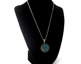 Turquoise Inlay Celestial Moon & Stars Vintage Taxco Mexico 925 Sterling Silver Circular Medallion Pendant Necklace