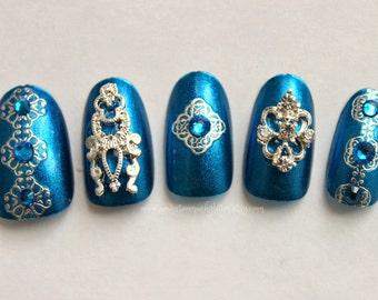 Press On Nails, Bollywood nails, Indian Wedding Nails, Nail Art, 3D Fake Nails, Indian Style, Acrylic Nails, False Nail, Japanese Nail Art