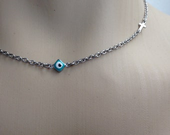 Evil eye cross necklace  -  turquoise - stainless steel - protection - Greek jewelry - Gift for her