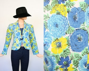 Vintage 60s Floral Jacket / 1960s Flower Print Blazer / Spring Cardigan Top / Woven Sack / Small / Medium
