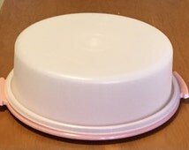 Tupperware Pie Taker 1980s  Mauve/Pink Base Pie Carrier Cake Taker