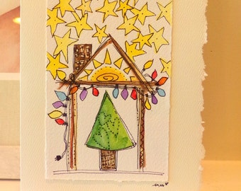 "Christmas House Of The Rising Sun ""Big Card"" 5x7 Watercolor Original betrueoriginals"