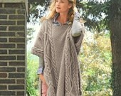 INSTANT DOWNLOAD PDF Vintage Knitting Pattern  Cable Poncho Cape Wrap Cloak Bulky Chunky